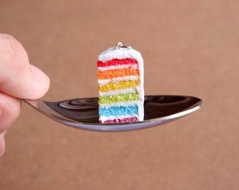 Rainbow Cake Necklace - Miniature Food Jewelry, Polymer Clay Food. Cake Jewelry. Rainbow Necklace.