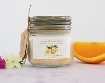 orange blossom honey hand & body cream | neroli, honey, citrus scented natural lotion infused w/ orange pekoe tea | 8 oz glass jar