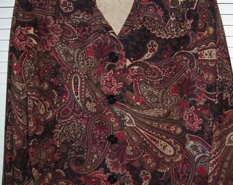 Vintage Briggs Paisley Great Shirt Blouse 12 Petite.