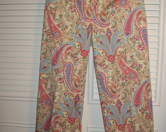Vintage Talbot's Provincial Paisley Cotton Long Pants - Charming Spring Find Size 6