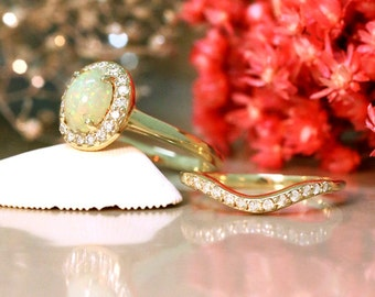 Gemstone Engagement Ring Set | Opal Ring and Matching Diamond Wedding Band | Solid 14K Gold | Fine Jewelry | Free Shipping