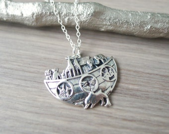 Noah's Ark Necklace, Sterling Silver, Vintage Noah's Ark, All the Animals, Elephant, Ox and Ass, Two by Two, Noah's Ark, Ark Necklace