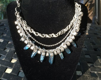 Blue Crystal Silver Necklace - Handcrafted