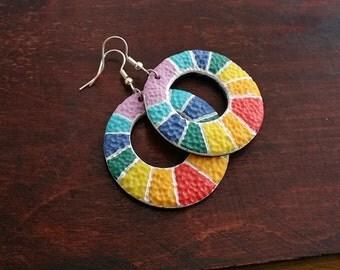Rainbow hoop earrings handmade from polymer clay, multicolor earrings, hoop earrings, textured colorful jewelry, modern, geometric earrings