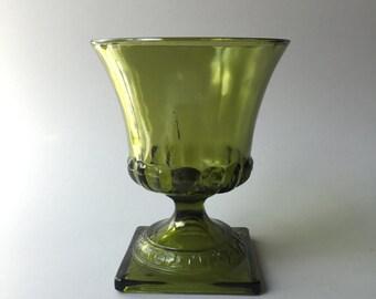 GREEN GLASS VASE, Vintage green glass vase, large green glass vase, olive green glass vase, vase with square base, pedestal vase,green decor