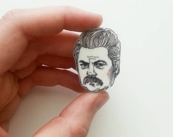 Ron Swanson/ Parks and Rec/ Nick Offerman/Pin/Illustrated Pin