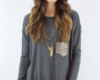 Knit Tunic with Sequins Pocket