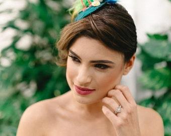 Flamingo hat, fascinator, flamingo, accessories, flamingo accessories,  tropical wedding, race hat