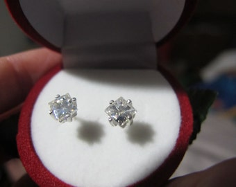Silver Moissanite Earrings, Princess Cut Moissanite Sterling Studs