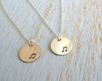 Music Note Necklace, Silver Music Note Necklace, Gold Music Note Necklace, Music Necklace, Simple Music Necklace