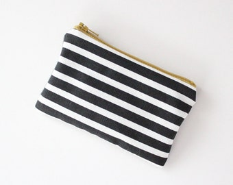 coin purse small pouch - black white stripe