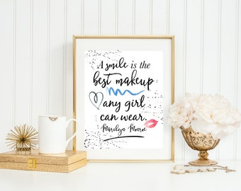 PRINTABLE A Smile is the Best Makeup Any Girl Can Wear, 8x10 and 5x7, Marilyn Monroe Quote, Watercolor Makeup Print, Watercolor Fashion