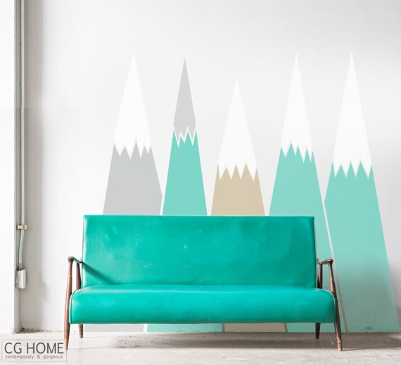 headboard MOUNTAIN view Snow mountain Self Adhesive Wallpaper pattern Custom Design for kids big wall decal washable sticker CGhome