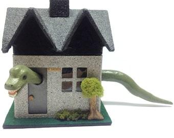 Miniature brachiosaurus house - handmade whimsical dinosaur