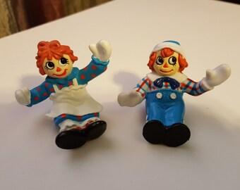 Raggedy Ann Raggedy Andy vinyl Figurines 1988