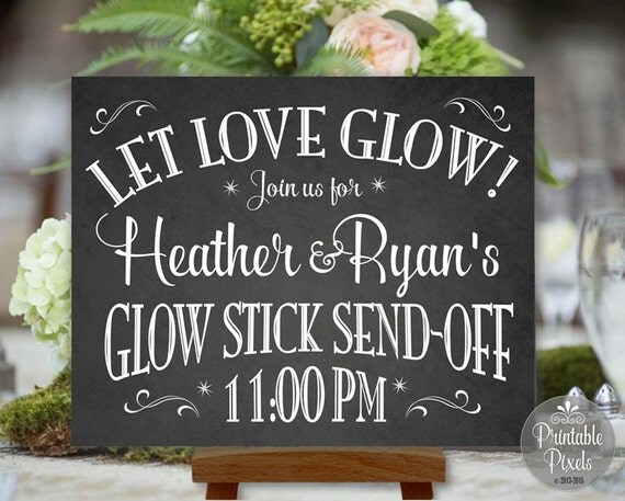Glow Stick Send-Off Printable Chalkboard Wedding Sign Personalized ...