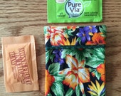 Sugar Packet Holder Travel Case for purse or pocket, holder for stevia, splenda, equal, sugar, teabag
