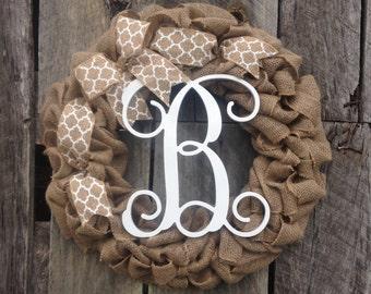 burlap wreath monogram door wreath initial wreath, burlap monogram wreath, letter door hanger, wedding gift
