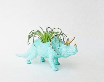 Dinosaur Planter + Air Plant // Blue Animal Planter