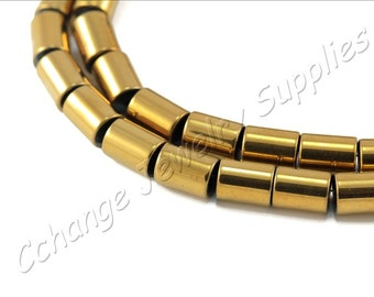 Barrel Tube Hematite, (8mm x 6mm) Barrel Hematite Beads, 1 Strand (50 pcs) Gold Hematite Beads, Natural Hematite Beads / HBY-008