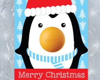 Merry Christmas EOS Cards- Eos Holiday Gift Cards- Eos Gift Tags- EOS Penguin Gift Tags- Christmas Penguin Gift Tag