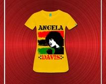 Angela Davis Revolutionary Women's Fitted T-Shirt - Yellow