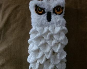 Snow owl fingerless gloves