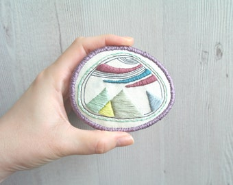 Embroidery brooch, fabric pin, embroidery pin, big broach, unique brooch, fabric art brooch embroidered, contemporary jewelry, embroided pin