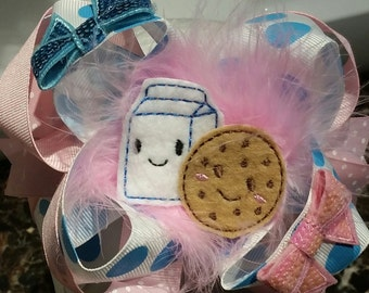 Over the top hair bow cookies and milk