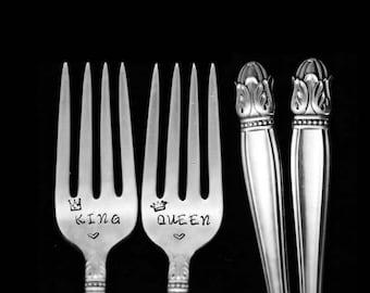 Stamped Forks, Wedding Engagement Silverware King Queen Danish Princess Fork Vintage Hand Stamped Dessert Flatware