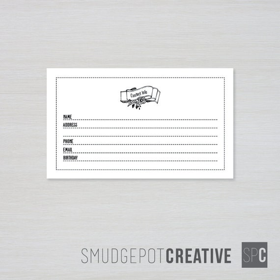printable contact information cards 3 x 5
