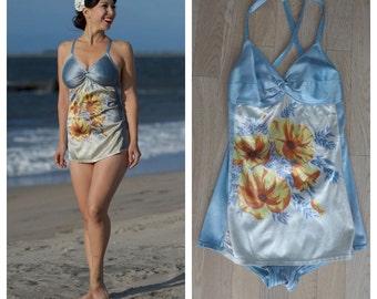 SUMMER SALE 1940's pastel in the sun Bathing Suit