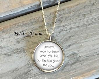 Adoption necklace - adoption jewelry - Stepdaughter necklace - Daughter necklace - Petite 20 mm pendant - personalized adoption necklace
