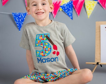 Boy's Artist Birthday Shirt with Paintbrush Number and Name