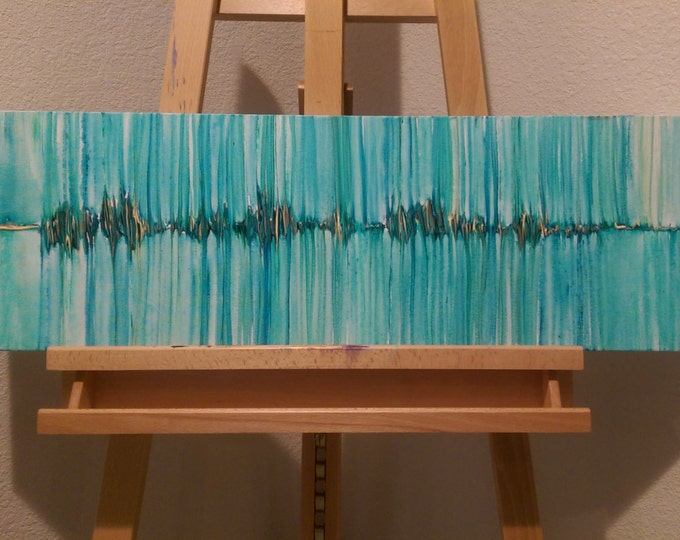 """Humble & Kind, Quote """"Always Stay Humble and Kind"""" Tim McGraw, Blue, Turquoise, Green, yellow, Soundwave Painting"""