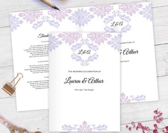 DIY wedding program template| Folded wedding program template| Damask wedding program| DIY Wedding templates| Lavender lilac|FETFP| T10