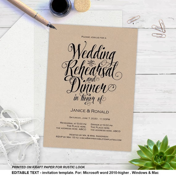 Adaptable image pertaining to printable rehearsal dinner invitations