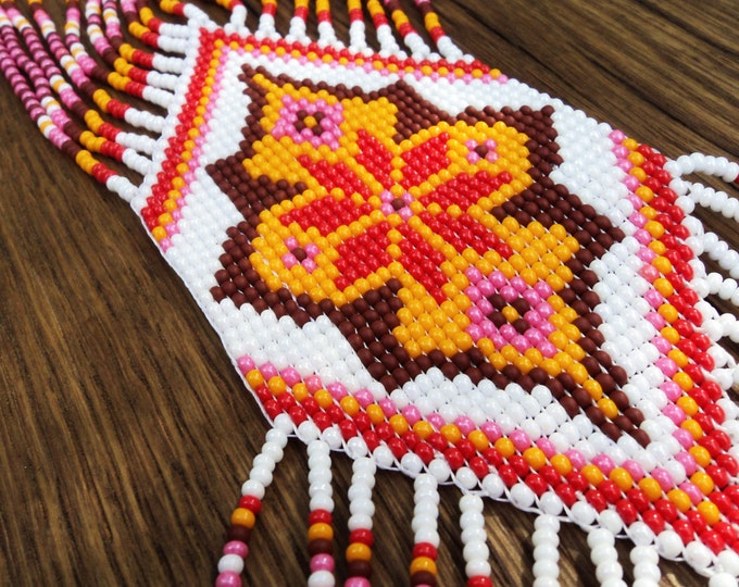 Ethnic dainty beaded necklace Gerdan with national Ukrainian pattern, seed bead necklace, beaded adornment, colorful pendant
