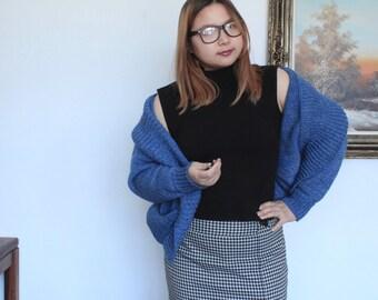 Vintage hand knit blue wool cardigan