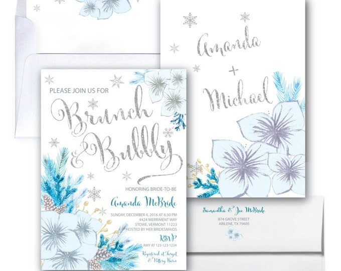 Winter Brunch and Bubbly Invitation // Holiday Bridal Shower Invitation // Blue // Christmas // Snowflakes // Silver // VERMONT COLLECTION