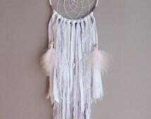 Soft Pink Dreamcatcher - Boho Bedroom Decor - Nursery wall Decor - Shabby Dreamcatcher - Pink Dreamcatcher