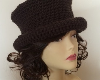 Crochet chunky unisex adult top hat, undecorated, wear plain, or ideal for decorating as your own, steampunk, role play - various colours