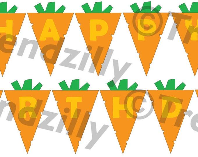 Carrot Birthday Banner, Spring Garden Birthday Banner, Bunny Birthday, Rabbit Party, Printable Instant download, Happy Birthday Banner.