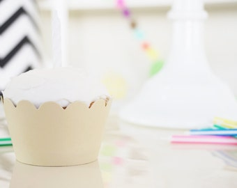 SAND BEIGE Cupcake Wrappers - Set of 24