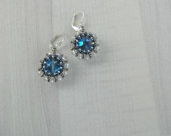 Beadwork blue bridal earrings, Crystal dangle earrings, Wedding blue earrings, Statement crystal earrings, Wedding earrings, Blue jewellery