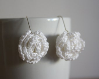 Crochet Rose Earrings