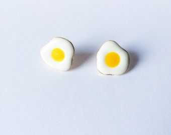 Fried Eggs Earrings - Eggs earrings - Sunny side up - Post earrings - Stud earrings - Food earrings - Fried Eggs - Cute earrings - Kawaii