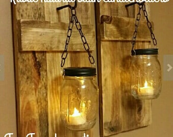 Candle Holders  set of 2,  Rustic Candles,  Country Decor, Cabin Decor Rustic Sconces, Mason Jar Candles On Sale 40.00 for a Set
