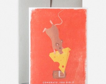 Congrats! You Did It Bungee Mouse Greeting Card