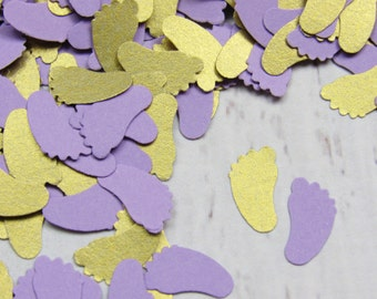1000 Gold and Lilac Baby Feet Confetti - Purple Baby Shower Decor - Lilac Shower Table Decorations